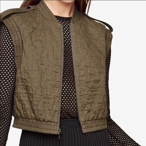 BCBGMAXAZRIA Olive Green Quilted Zip Up Vest Sz M